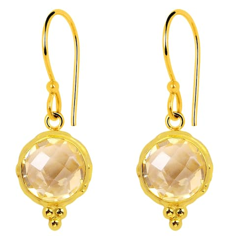 Citrine Sterling Silver Round Dangle Earrings by Orchid Jewelry