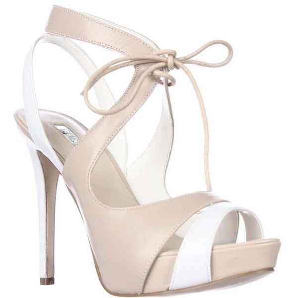 GUESS Hedday Platform Ankle Tie Sandals - Natural Multi