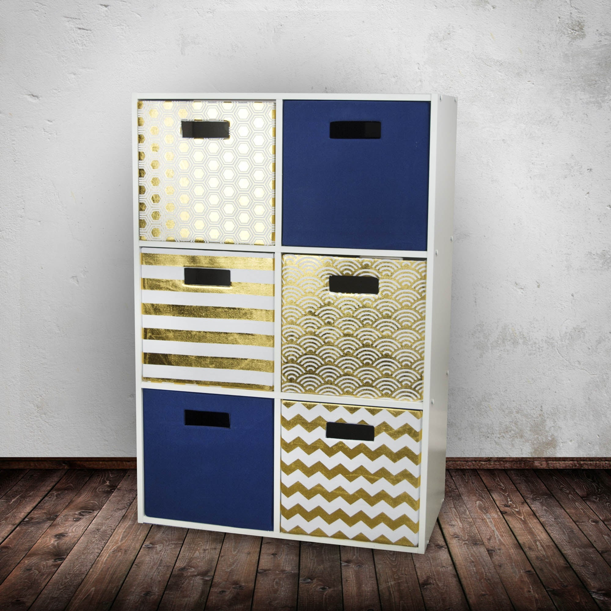 Gold Polyester Cube Storage Bin With Waves Design 13 On Sale Overstock 31714593