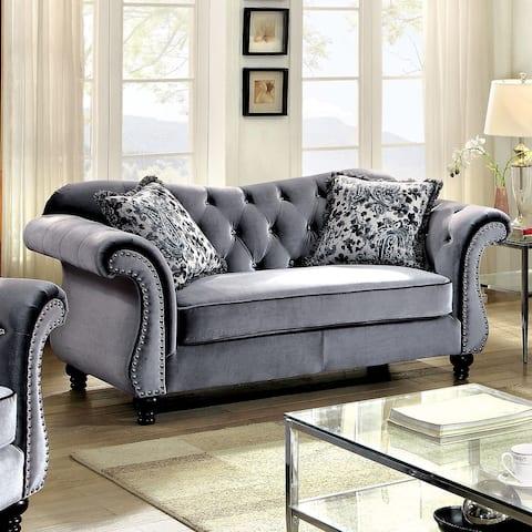 Furniture of America Tese Traditional Purple Fabric Nailhead Loveseat