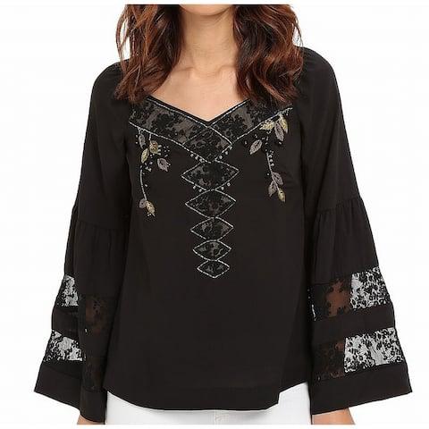 Nanette Lepore Black Womens 0 Bell-Sleeve Embellished Lace Blouse