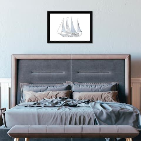 Hatcher & Ethan 'Map Sail Boat IV' Wall Art Framed Print - Blue, White