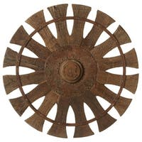 """22"""" Caramel Brown Rustic Finished Decorative Vintage Charkha Wall Decor"""