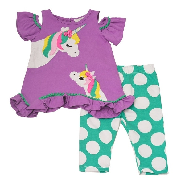 4b3d8da444687 Rare Editions Baby Girls Purple Unicorn Applique 2Pc Pants Outfit