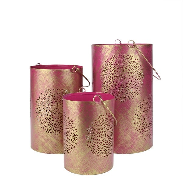 Set of 3 Fuschia Pink and Gold Decorative Floral Cut-Out Pillar Candle Lanterns 10""