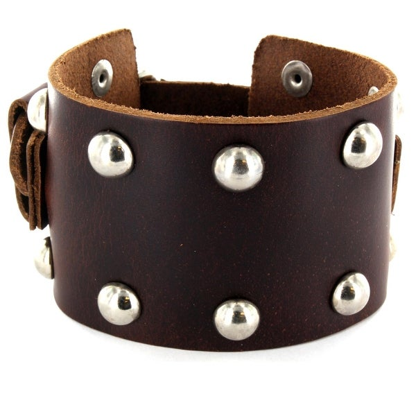 Men's Brown Leather Wide Multi-Dome Studs Bracelet with Adjustable Buckle (52 mm) - 7.5 in