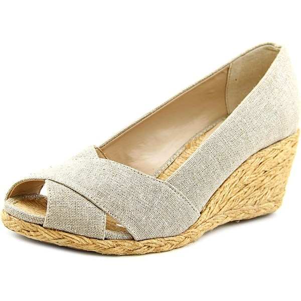 0bc007827fde Shop Adrienne Vittadini Bailee Women Open Toe Canvas Wedge Heel ...