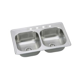 "Proflo PFSR332264 33"" Double Basin Drop In Stainless Steel Kitchen Sink with 4 Faucet Holes"