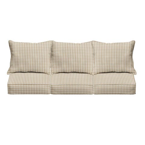 Beige White Check Indoor/Outdoor Pillow and Cushion Sofa Set - Corded - 25 in x 69 in x 27 in - 25 in x 69 in x 27 in