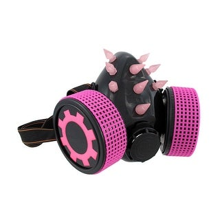 Hot Pink / Black Cyberpunk Respirator Mask w/ Rubber Spikes Cosplay