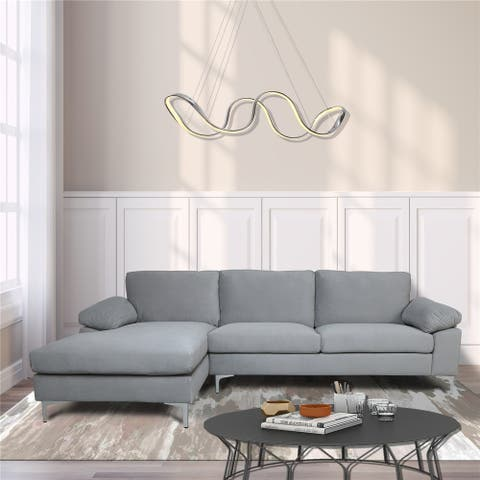 Sectional Sofa Light Hand Facing with Velvet Cushion and Chaise Lounge