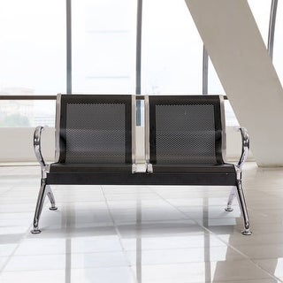 Kinbor 2-Seat Airport Reception Chair, Waiting Room Bench, Visitor Guest Chair for Bank Salon Barbershop