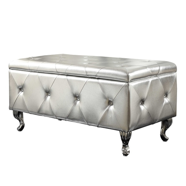 Silver Tufted Storage Bench