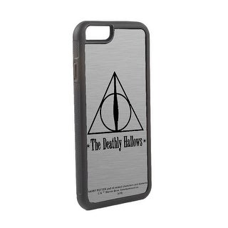 The Deathly Hallows Symbol Brushed Silver Black Cellphone Case iPhone6 Rubber Case