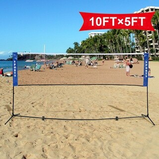Costway Portable 10'x5' Badminton Beach Volleyball Tennis Training Net w/ Carrying Bag