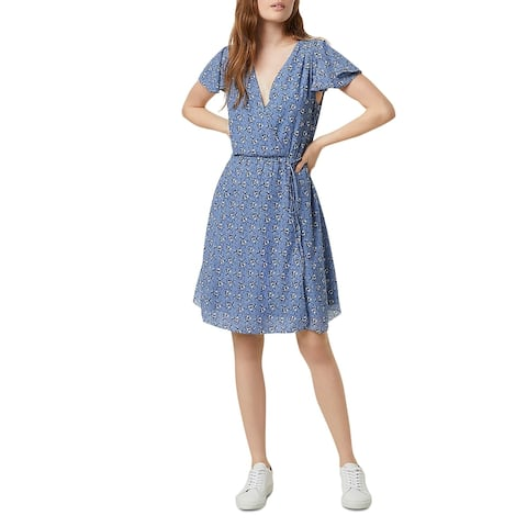 French Connection Womens Agata Georgette Wrap Dress Faux Wrap Surplice - Ana Blue