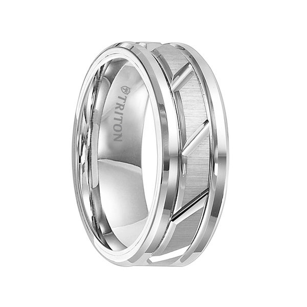 KURT White Tungsten Brushed Finish Wedding Band Dual Grooves with Diagonal Cuts by Triton Rings - 8 mm