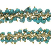 Gold Vermeil Wire Wrapped Gemstone Chain, Turquoise Rondelles 3mm, 1 Inch, Teal