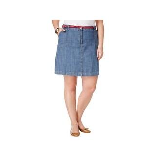 Karen Scott Womens Plus Core A-Line Skirt Casual Mini