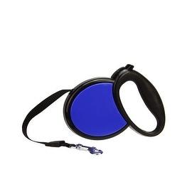 Ergonomic Solid Black and Cobalt Blue Retractable Dog Leash - 33 Pound Limit