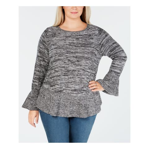 STYLE & COMPANY Womens Gray Heather Long Sleeve Sweater Size 1X