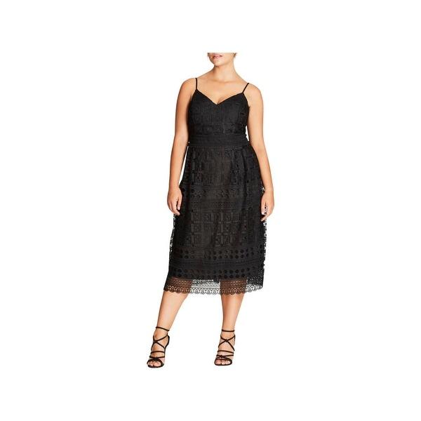 Shop City Chic Womens Plus Cocktail Dress Sleeveless Midi Free