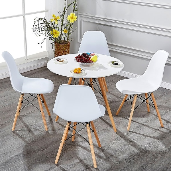 Shop Home Kitchen Dining Chairs Wood Leg Side Chairs (Set of ...