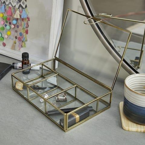 Gold Glass Modern Jewelry Box 2 x 9 x 6 - 9 x 6 x 2
