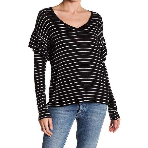 Shop Abound Black White Womens Size Medium M Striped Ruffled Sleeve Knit Top  639 - Free Shipping On Orders Over  45 - Overstock.com - 22437301 0110c4e35