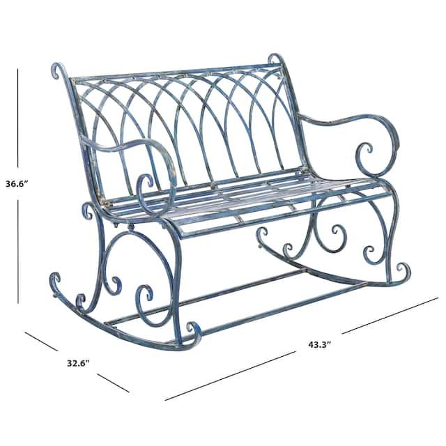 "SAFAVIEH Outdoor Living Ressi Victorian Scroll Iron Rocking Bench - 43.3"" W x 32.6"" L x 36.6"" H"