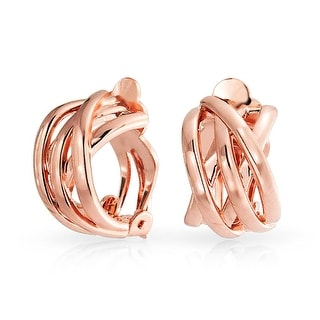 Bling Jewelry Rose Gold Plated Criss Cross Half Hoop Clip On Earrings - Pink