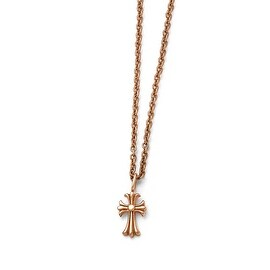 Chisel Stainless Steel Polished Pink IP-plated Cross Necklace - 18 in