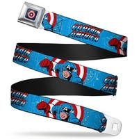 Marvel Comics Captain America Shield Full Color Navy Captain America W Seatbelt Belt
