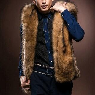 Men Stylish Faux Fur Sleeveless Hoodie Vest Coat Warm Winter Slim Jacket Outwear