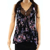 88b98ebd4b74 Socialite NEW Black Women Size Small S Floral-Print Lace-Insert Cami Top
