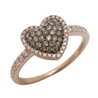 Prism Jewel 0.43Ct SI1 Brown Diamond & G-H/SI1 Diamond Valentine Ring, 10K Rose Gold, Size 7