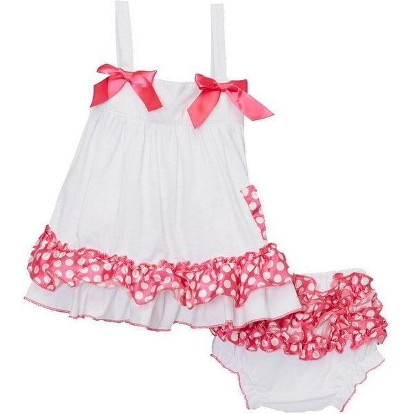 Wenchoice Baby Girls White Pink Polka Dots Bow Ruffles Swing Top Set