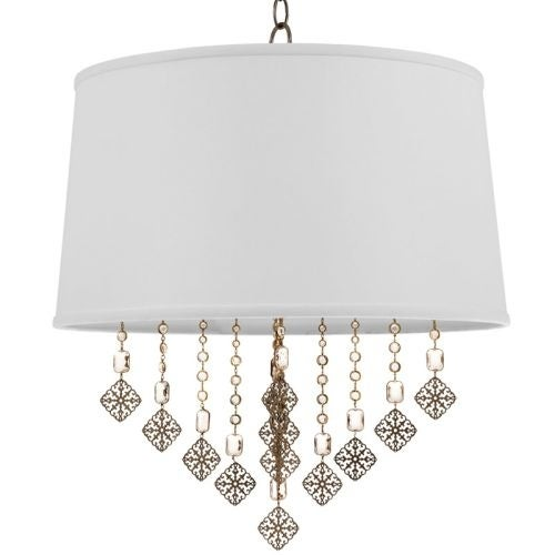 "Park Harbor PHPL5104 20"" Wide 4 Light Foyer Pendant with Tapered Drum Fabric Shade"