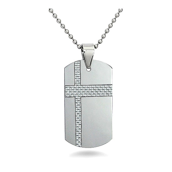 Tungsten Carbide Dog Tag with a White Carbon Fiber Accent on a 22 Inch Chain
