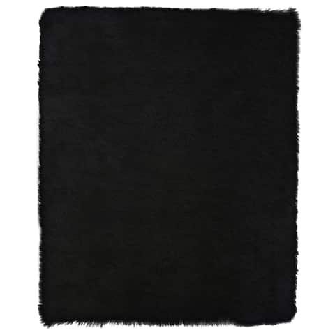 "Faux Sheepskin Black Rug 4'0"" x 6'0"" - ECARPETGALLERY - 4'0 x 6'0"