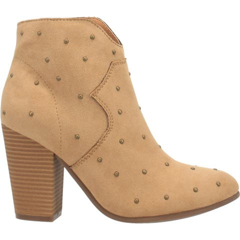 Code West Mood Studded Zippered Womens Booties Casual Mid Heel