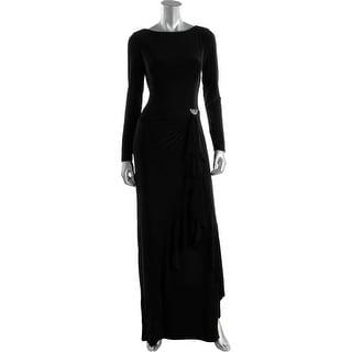 Lauren Ralph Lauren Womens Ruffled Long Sleeves Evening Dress