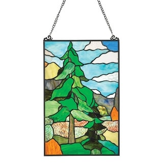 """River of Goods Wilderness Art Stained Glass Panel - Tiffany Style Wall Hanging and Sun Catcher - 13"""" x 20"""" - 13 in. x 20 in."""