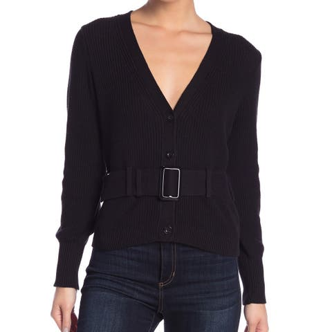 Free Press Women's Black Size XS V-Neck Belted Cardigan Sweater