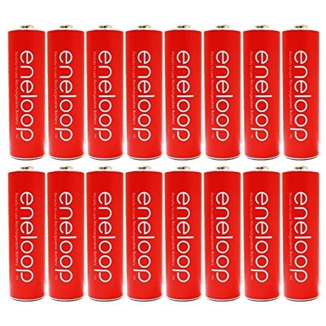 Eneloop Panasonic AA NiMH Pre-Charged Rechargeable Batteries with Holder, 16 Pack, Red