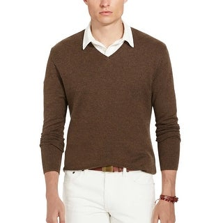 Polo Ralph Lauren Pima Cotton Herringbone V-Neck Sweater Brown Medium M