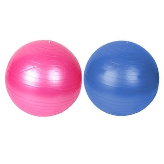 Gym Inflatable Balance Fitness Yoga Ball Blue Pink 55cm Dia w Pump 2pcs
