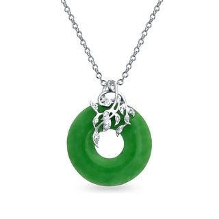 Bling Jewelry CZ Leaves and Dyed Green Jade Disc Pendant .925 Sterling Silver