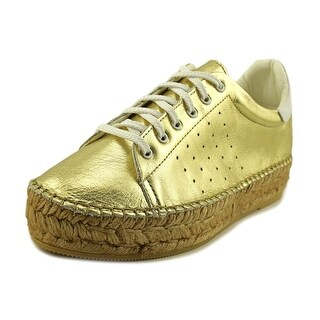 Steven Steve Madden Pace Women Leather Gold Fashion Sneakers