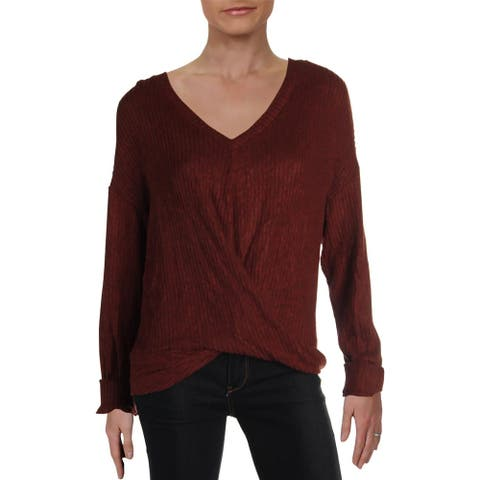 Lush Womens Pullover Sweater Twist Front V-Neck